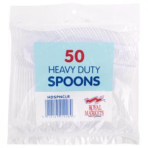 Royal Markets Heavy Duty Clear Spoons Pk50 C/20