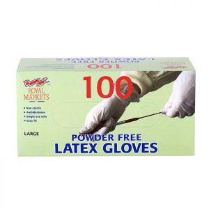 Royal Markets Latex Gloves Box/100 C/10 PFREE Large
