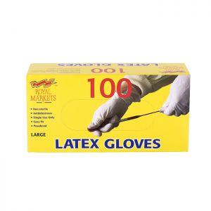 Royal Markets Latex Gloves Box/100 C/10 Large