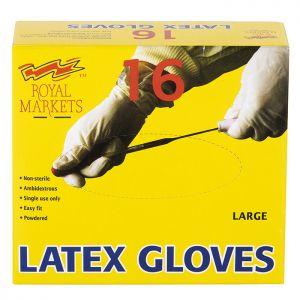 Royal Markets Latex Gloves Box/16 C/40 Large