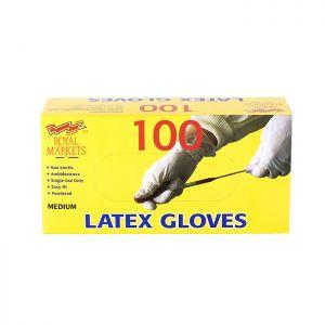 Royal Markets Latex Gloves Box/100 C/10 Medium