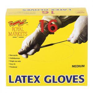 Royal Markets Latex Gloves Box/16 C/40  Medium