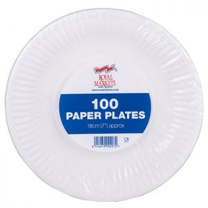 Royal Markets White Paper Plates 7in Pk100 C/10