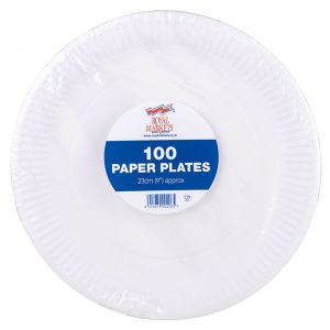 Royal Markets White Paper Plates  9in Pk100 C/10