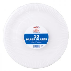 Royal Markets White Paper Plates 9in Pk30 C/34