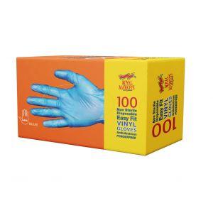 Royal Markets Blue Powder Free Vinyl Gloves Med