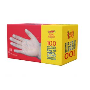 Royal Markets Clear PF Vinyl Gloves XLarge