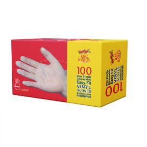 Royal Markets Clear PF Vinyl Gloves Med