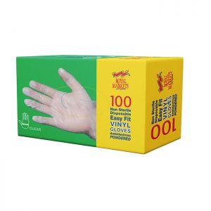 Royal Markets Clear Vinyl Gloves Med